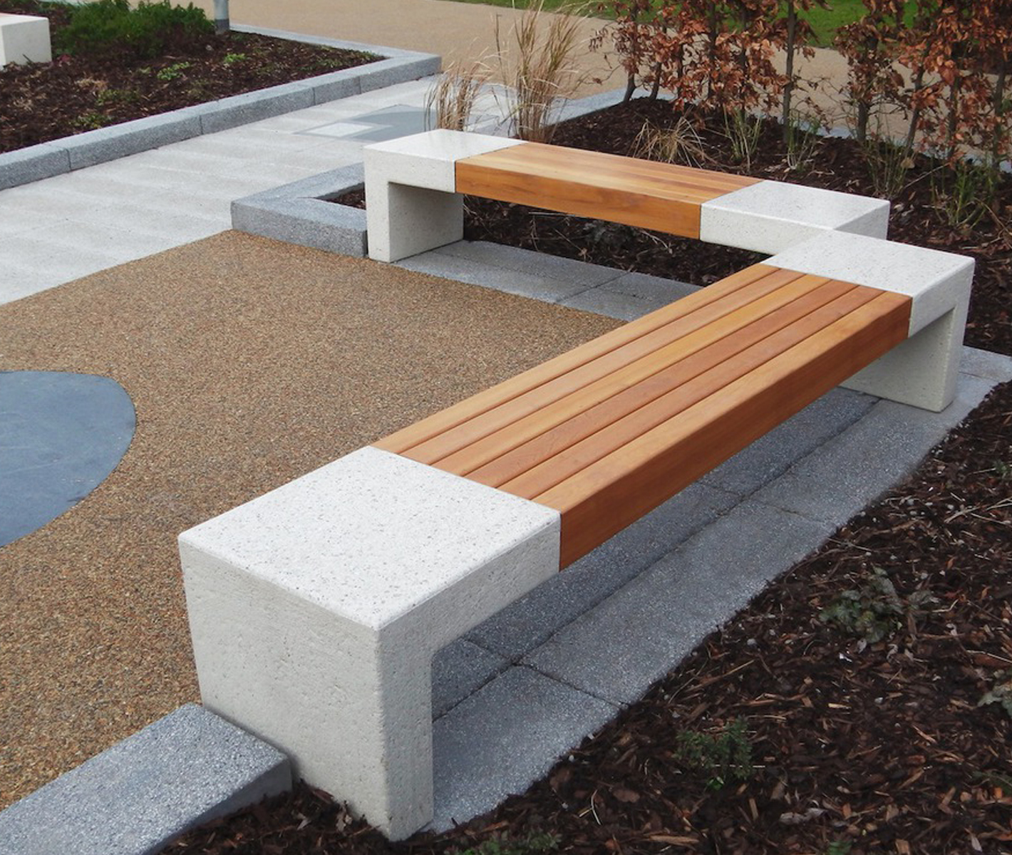 Stone And Wood Bench: Giada PDM Concrete Wood Bench 9